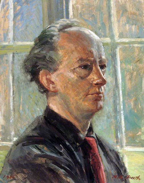Hubert Andrew Freeth ,Self Portrait, Portraits of Painters, Fine arts, Portraits of painters blog, Hubert Andrew, Paintings of Hubert Andrew, Painter Hubert Andrew