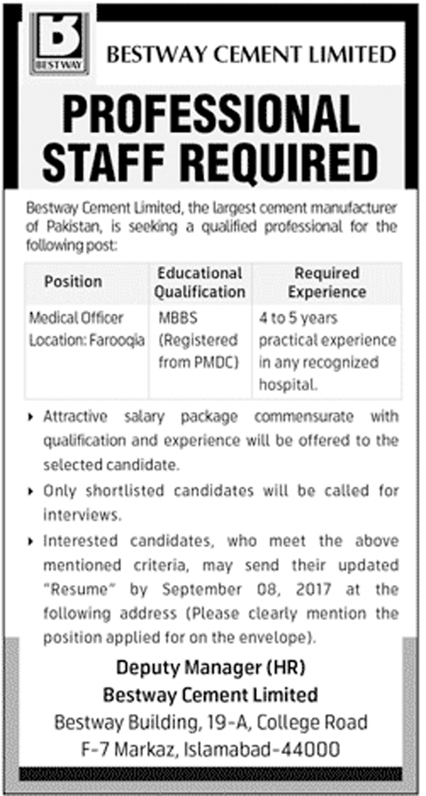 Medical Officer Required In Bestway Cement Limited Aug 2017