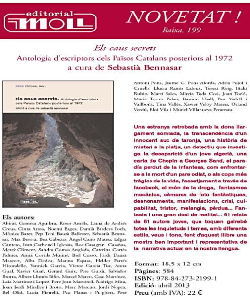 Diari de Balears | Can Alcover acull dimarts la presentació del llibre 'Els caus secrets', antologia on he participat