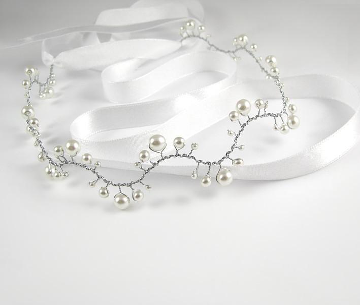 Tiara ślubna z perłami - falowana opaska Airy.