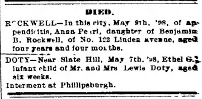 Death Notice Middletown Daily Argus, Middletown, NY, May 9, 1898