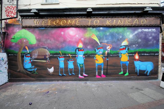 Street Art Mural By Brazilian Artist Cranio In East London, UK.