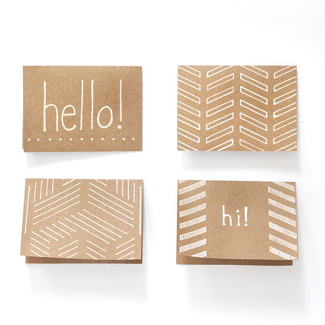 Brow kraft paper notecards & while chalk - featuring JAM Paper!