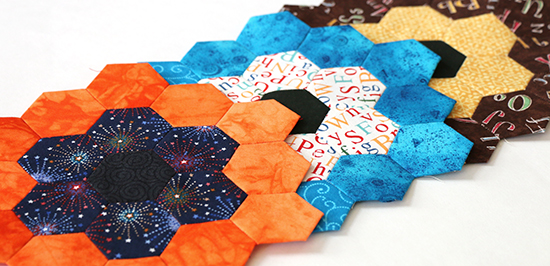 Three Overlapping EPP Hexagon Flower Blocks at a Angle
