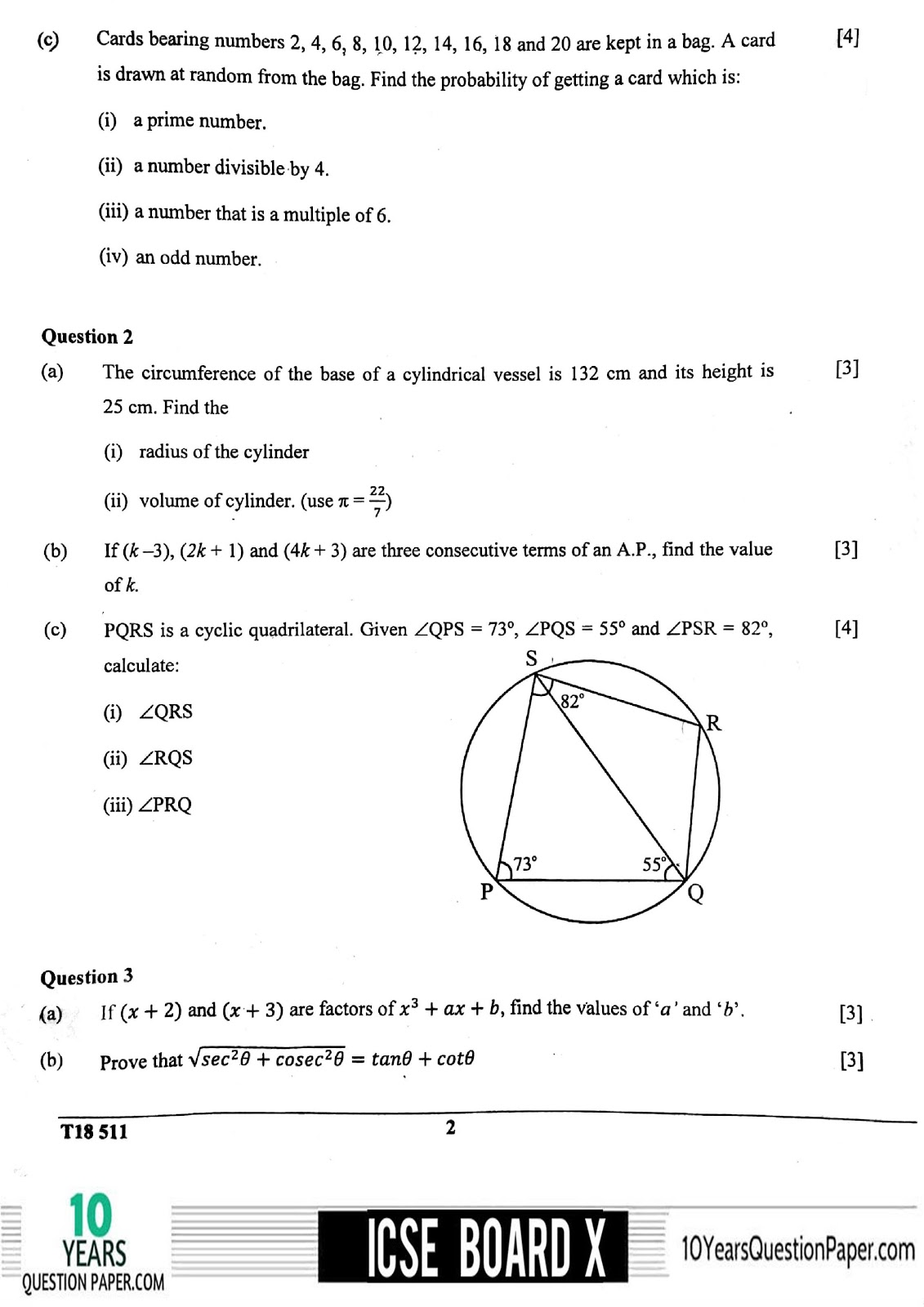 ICSE Board 2018 Mathematics Question paper page-02