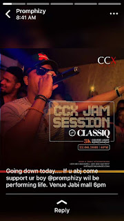 JTE Gist: Popular Nigerian Singers Promphizy & Jesse Kallamu Performing Live Today at CCX Jam session With ClassiQ at Jabi Lake Mall Abuja | Watch Video
