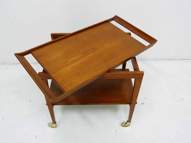 Danish Modern Teak Serving Bar Cart Tove and Edvard Kindt-Larsen Tray