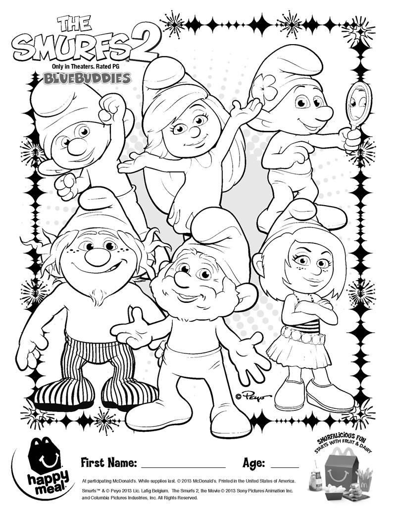 happy meal coloring pages | kolorowanki : Smurfs 2 i 1 Smerfy