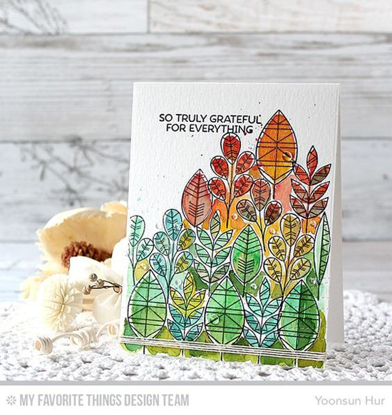 Handmade card from Yoonsun Hur featuring Lisa Johnson Designs Geometric Greenery stamp set and Stitched Strip Die-namics #mftstamps