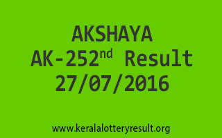 27-07-2016 SATURDAY AKSHAYA AK-252 KERALA LOTTERY RESULTS