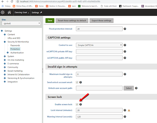 how to disable screenlock in kentico