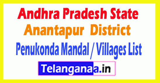 Penukonda Mandal Villages Codes Anantapur District Andhra Pradesh State India