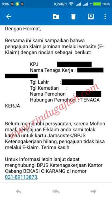 email penolakan klaim dana JHT BPJS Ketenagakerjaan secara online