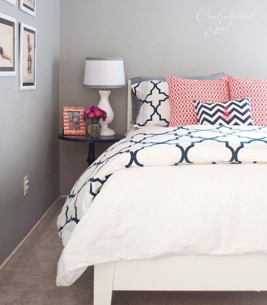 Check Out The C Accents With White Bedding And Gray Walls