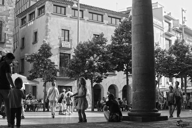 La Porxada de Granollers en blanc i negre