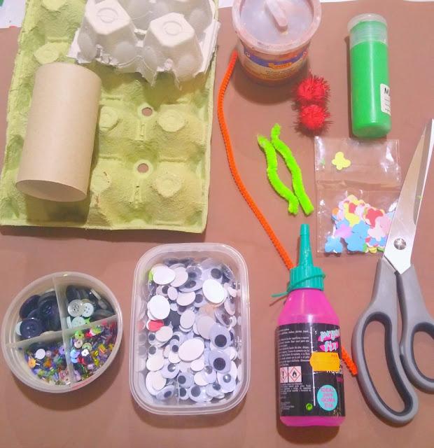 pintura, pegamento, tiejeras, pinceles, limpiapipas, lentejuelas, botones