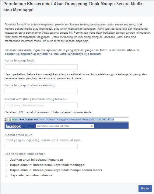 How to delete a Facebook account with a special request
