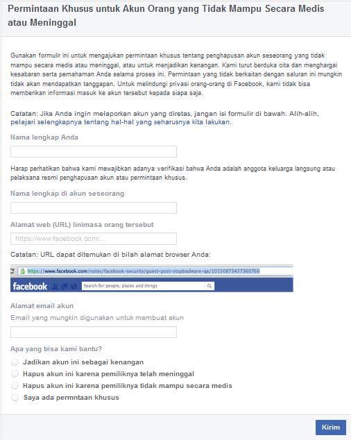 Cara Menghapus Akun Facebook Dengan Permintaan Khusus