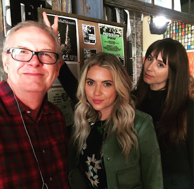 Ashley Benson, Troian Bellisario & PLL director Norman Buckley bts filming 7x05