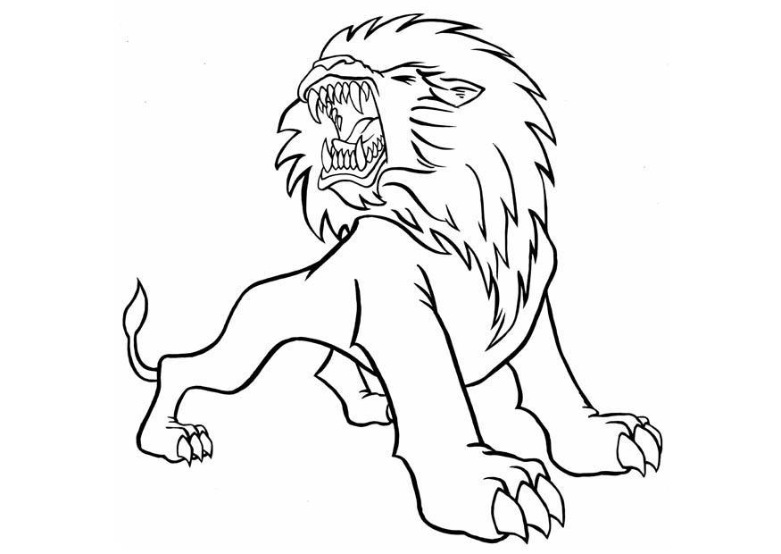 Tranh tô màu con sư tử đang gầm