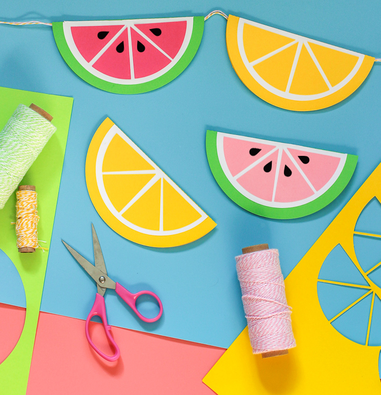 Use this cut file to create a colorful paper garland for a summer themed garland