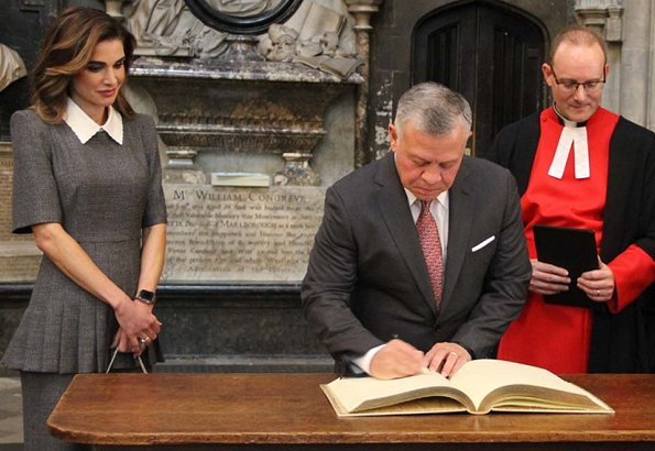 Queen Rania wore a grey midi dress by Fendi for her visit at Westminister Abbey