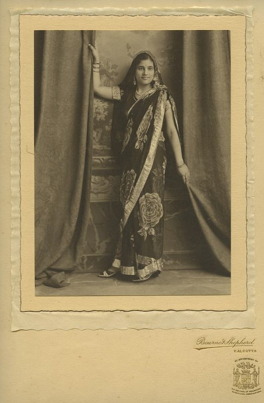 Studio Portrait of a Young Woman of Calcutta (Kolkata) in Sari - 1920's