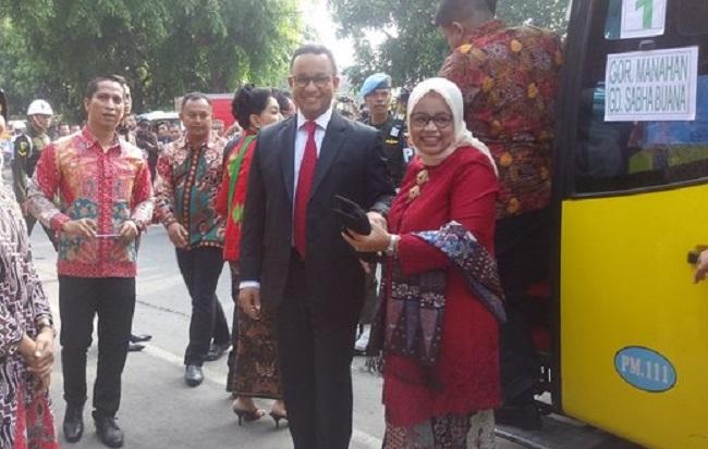 Gubernur DKI Jakarta Anies Baswedan diteriaki relawan Jokowi saat menghadiri pernikahan Kahiyang Ayu dan Bobby Nasution