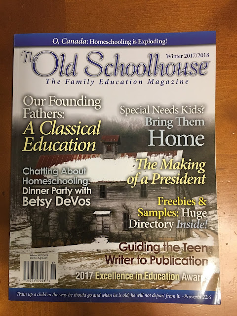 The Old Schoolhouse Winter 2017-2018  print edition, schoolhouse teachers.com, homeschooling