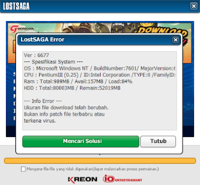 Solusi Masalah Error Lost Saga Indonesia - Download Update File Lama dan Stuck