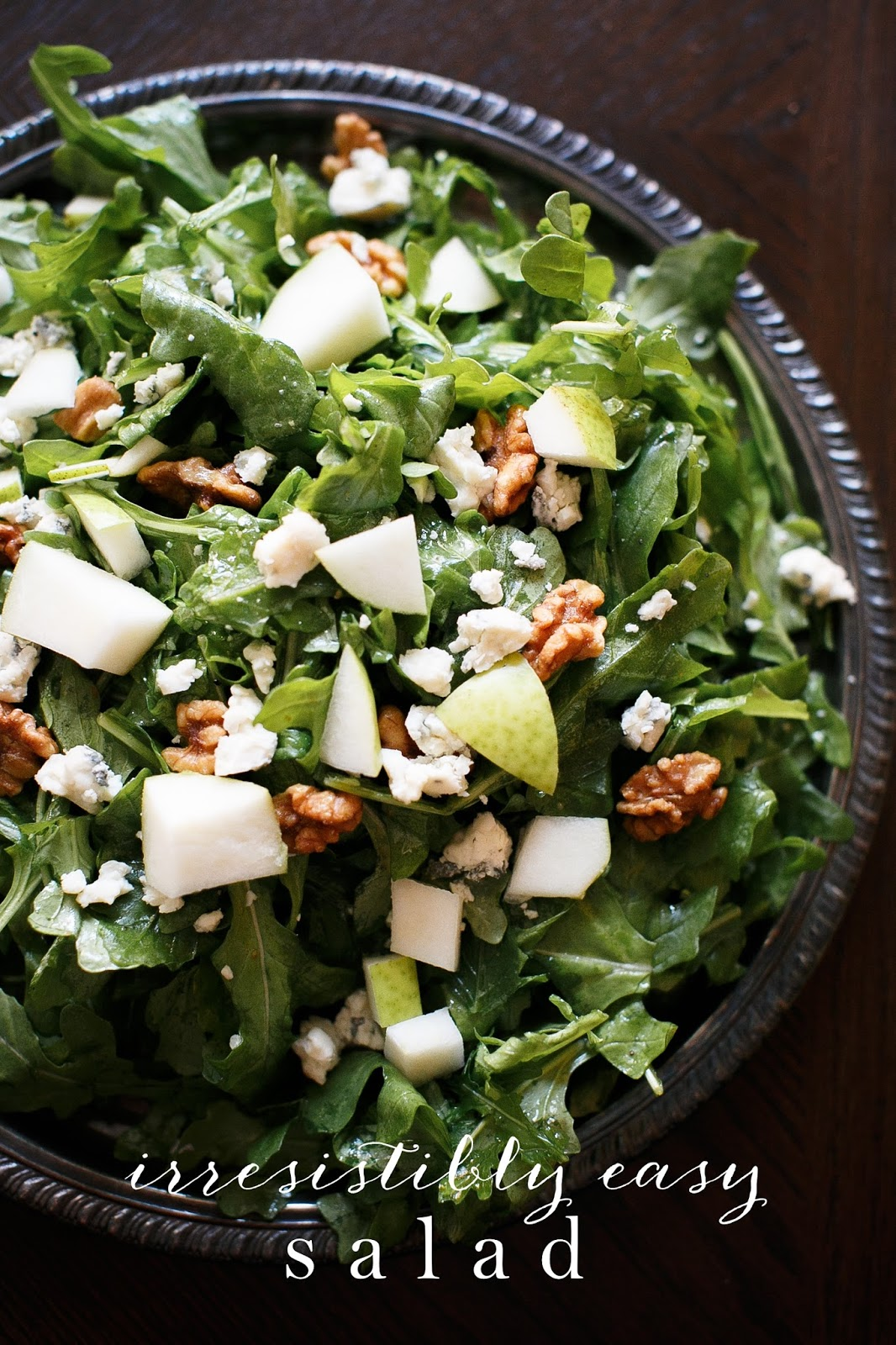 Arugula Salad with Pear, Candied Walnuts and Gorgonzola- TangoMango