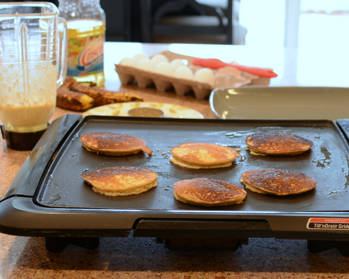 Triple-Banana Oat Pancakes ♥ KitchenParade.com