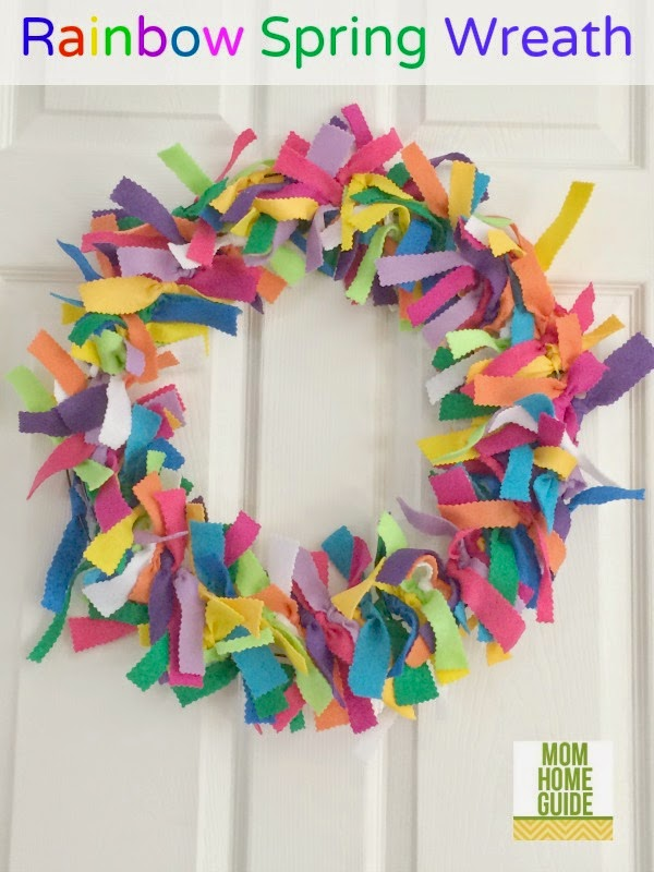 rainbow felt spring wreath