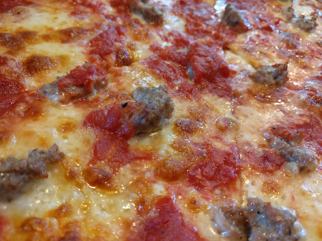 Sausage & Tomato Pizza Pie at Papa's Tomato Pies in Trenton