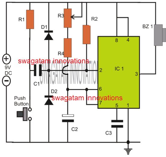 simple IC 555 based timer circuit