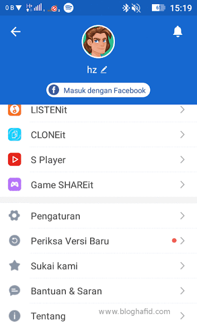 Menu Shareit