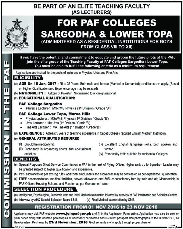 Lecturers Jobs in PAF Colleges Sargodha