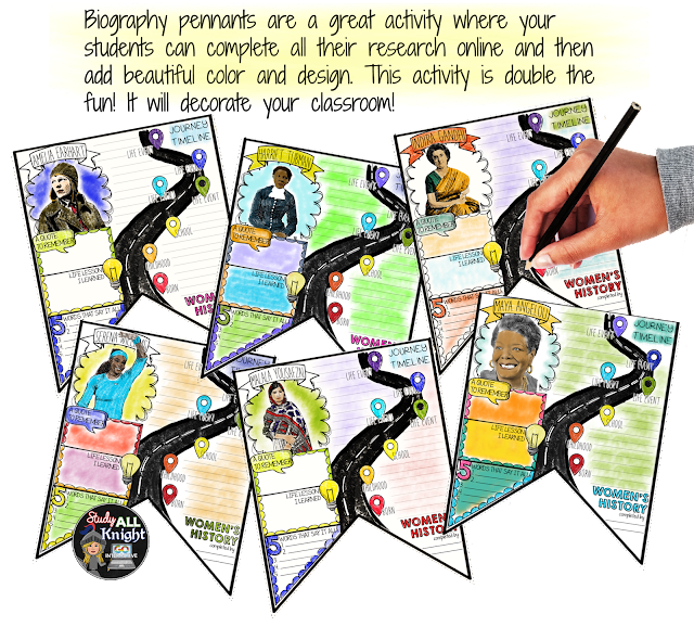 Biography pennants are a great activity where your students can complete all their research online and then add beautiful color and design. This activity is double the fun! It will decorate your classroom!