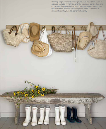 Modern farmhouse bench peg rack hats baskets boots flowers Eleanor Cummings