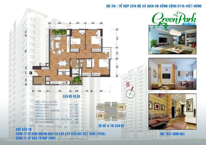 Mặt bằng căn hộ 04, 08 chung cư Việt Hưng Green Park Long Biên