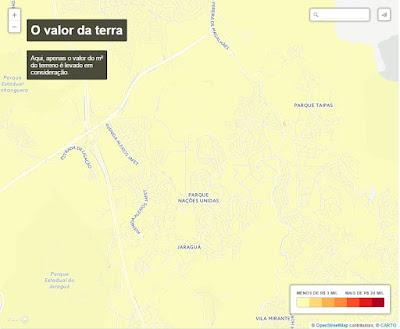 Valor do metro quadrado dos terrenos no bairro Jaraguá. Fonte: Estadão.