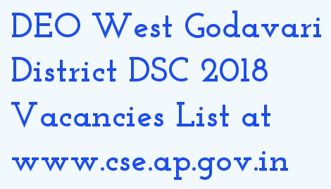DEO WEST GODAVARI DSC 2018 Vacancies List at www.deowg.org