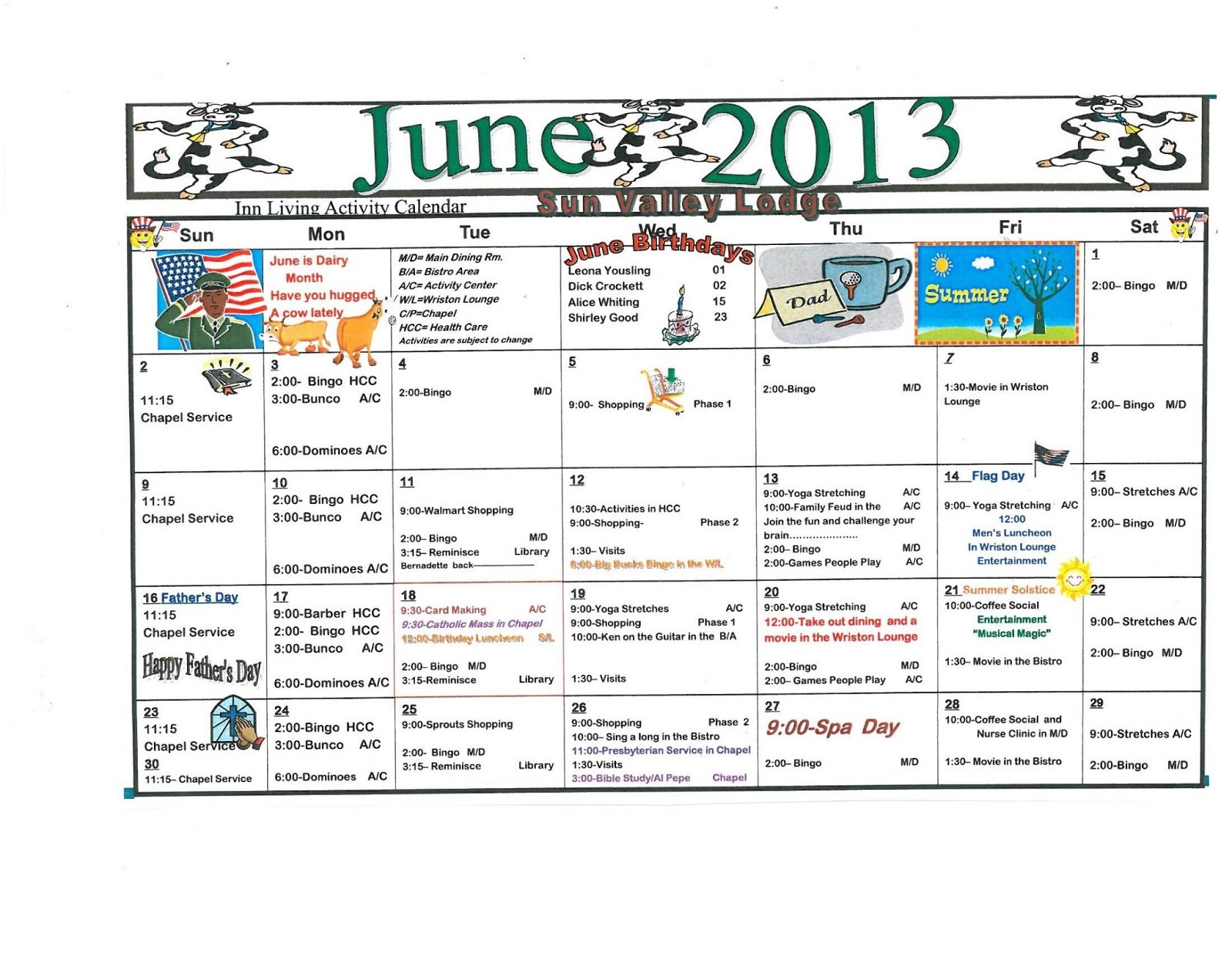 June Assisted Amp Independent Living Activity Calendar