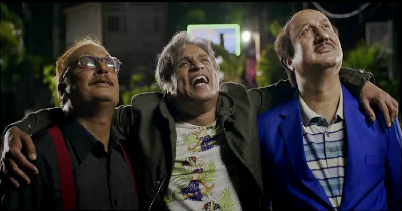 Piyush Mishra, Annu Kapoor, Anupam Kher in The Shaukeens movie still, looking up in dream world