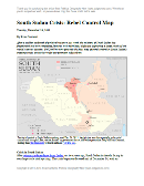 Report and map of rebel control in South Sudan's December 2013 political crisis; includes indications of control by state and city, including Juba, Bor, Bentiu, Malakal, and more
