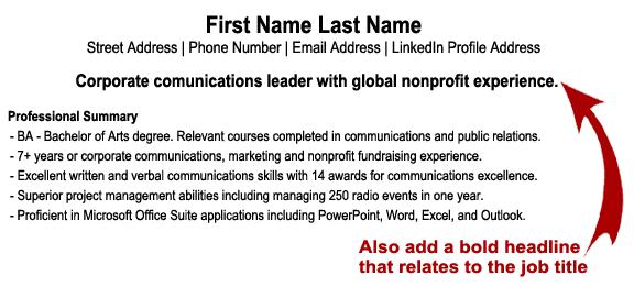 Professional Headline Resume Examples - Resume Sample