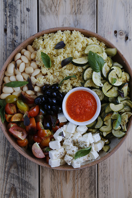 Mediterranean-Bowl-with-Red-Pepper-Sauce