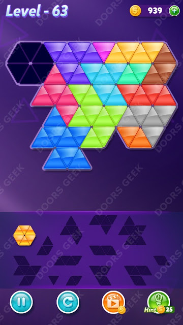 Block! Triangle Puzzle Champion Level 63 Solution, Cheats, Walkthrough for Android, iPhone, iPad and iPod