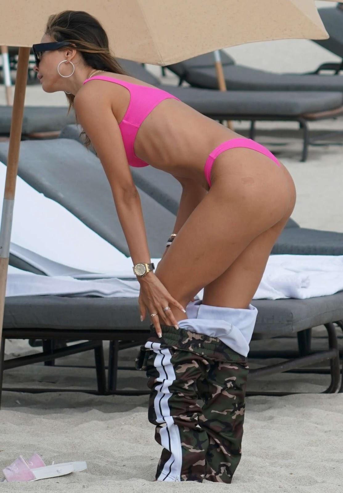 Patricia Contreras in Bikini, Wardrobe Malfunction at Beach in Miami