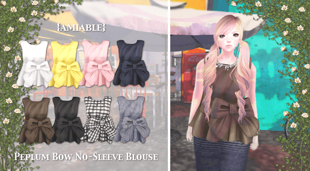 {amiable}Peplum Bow No-sleeve Blouse@.Whimsical.(50%OFF SALE).